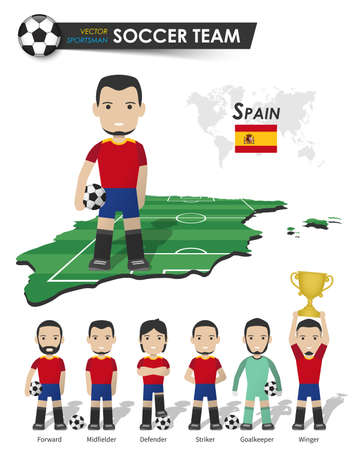 Spain national soccer cup team . Football player with sports jersey stand on perspective field country map and world map . Set of footballer positions . Cartoon character flat design . Vector .