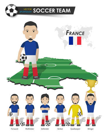 France national soccer cup team . Football player with sports jersey stand on perspective field country map and world map . Set of footballer positions . Cartoon character flat design . Vector . 矢量图像