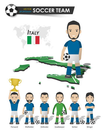 Italy national soccer cup team . Football player with sports jersey stand on perspective field country map and world map . Set of footballer positions . Cartoon character flat design . Vector .
