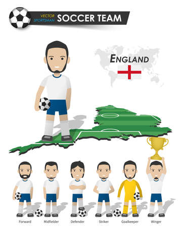 England national soccer cup team . Football player with sports jersey stand on perspective field country map and world map . Set of footballer positions . Cartoon character flat design . Vector . 矢量图像