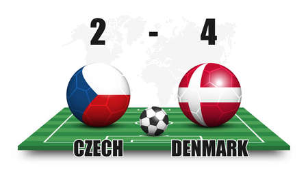 Czech vs Denmark . Soccer ball with national flag pattern on perspective football field . Dotted world map background . Football match result and scoreboard . Sport cup tournament . 3D vector design .
