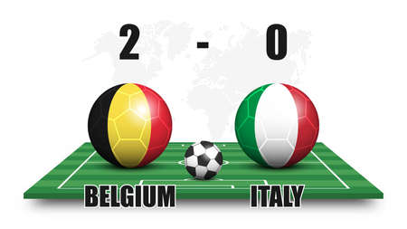 Belgium vs Italy . Soccer ball with national flag pattern on perspective football field . Dotted world map background . Football match result and scoreboard . Sport cup tournament . 3D vector design .