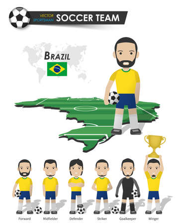 Brazil national soccer cup team . Football player with sports jersey stand on perspective field country map and world map . Set of footballer positions . Cartoon character flat design . Vector . Illustration