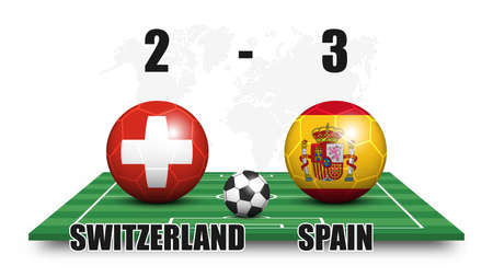 Switzerland vs Spain . Soccer ball with national flag pattern on perspective football field . Dots world map background . Football match result and scoreboard . Sport cup tournament . 3D vector design