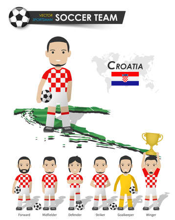 Croatia national soccer cup team . Football player with sports jersey stand on perspective field country map and world map . Set of footballer positions . Cartoon character flat design . Vector .