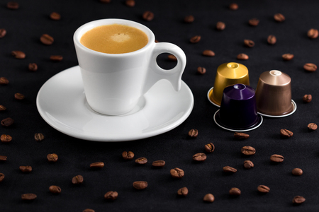 Photo and coffee and capsules