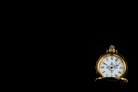 Photo and Golden pocket watch for wallpaper on black background