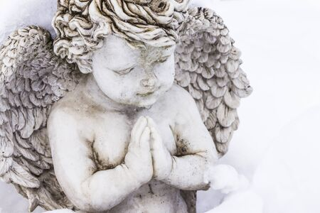 praying angel: sculpture of praying angel covered with snow