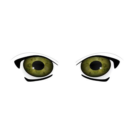 Anime Eyes. Human eyes closeup. Beautiful big cartoon eyes. Illustration