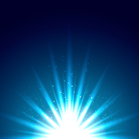 A flash of light on a blue background. Beautiful sparks flash. Illustration Banco de Imagens