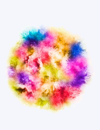 dust cloud: A colored explosion of powder. Flying in different directions powder for design and decoration. Illustration