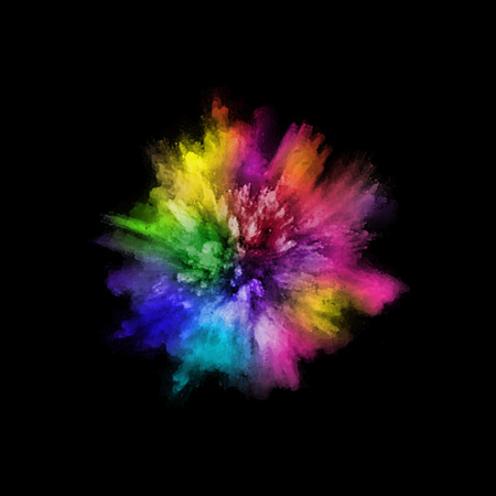 A colored explosion of powder. Flying in different directions powder for design and decoration. Vector illustration Vectores