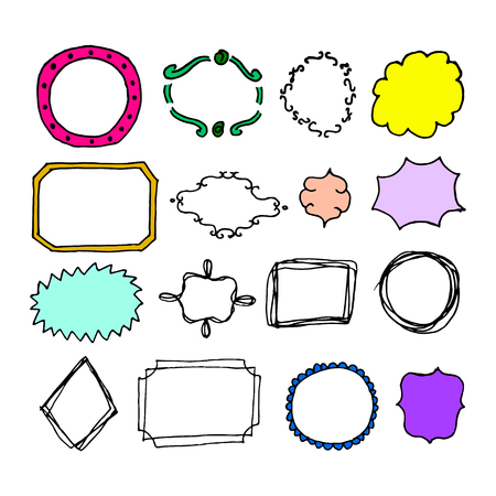 Doodle hand-drawn page designs. Set of text decorations in vintage style. Vector illustration Illustration