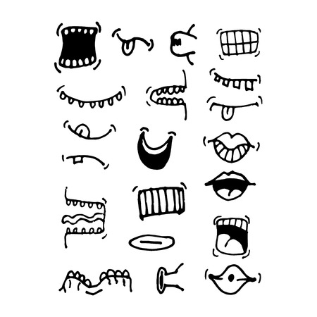 Seth doodle mouths. From the hand drawn cartoon emotions. Vector illustration