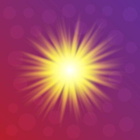 The yellow flash of light on a gradient pink purple background. Beautiful bokeh. Vector illustration