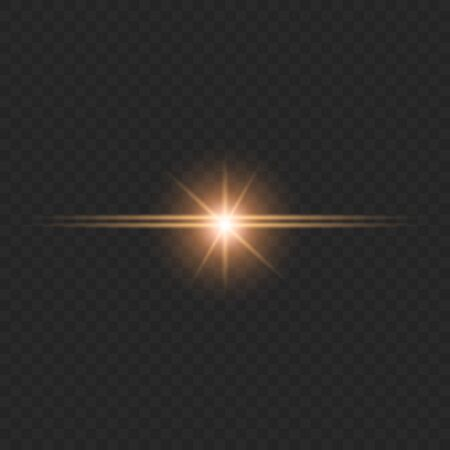 A flash of light from the glare. An explosion of red light rays. Beautiful colored rays of light. Vector illustration