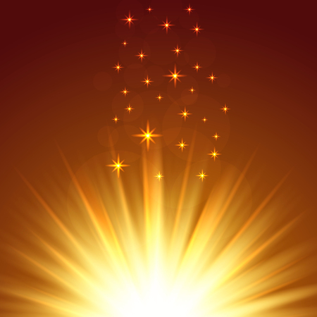 A flash of light on an orange background. Beautiful sparks flash. Scatter flare and bokeh. Vector illustration Çizim