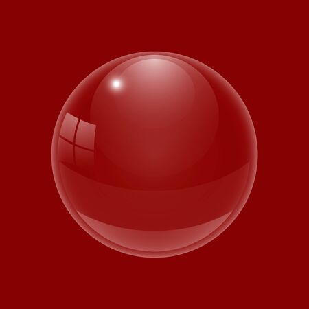 Beautiful glossy ball. A three-dimensional sphere for design. A transparent drop on a colored background. Vector illustration Illustration