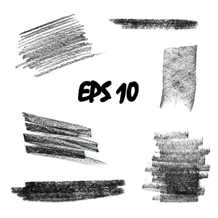 A set of pastels. Pastel strokes for creativity and design. Texture pastel black and white. Vector illustration 向量圖像