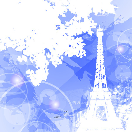 Eiffel Tower. Silhouette of the Eiffel tower on watercolor background. Beautiful concept for design. Vector illustration
