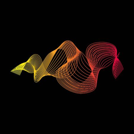 Abstract forms of lines. Creative art from colored lines isolated on black. Transitions from lines. Vector illustration