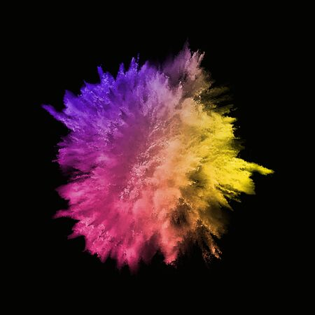 A colored explosion of powder. Flying in different directions powder for design and decoration. Vector illustration Vettoriali