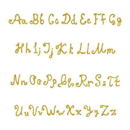 Handwritten font from sequins. Brilliant hand-written letters for design. Font of glitter. Vector illustration