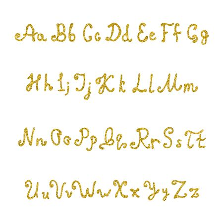 Handwritten font from sequins. Brilliant hand-written letters for design. Font of glitter. Vector illustration