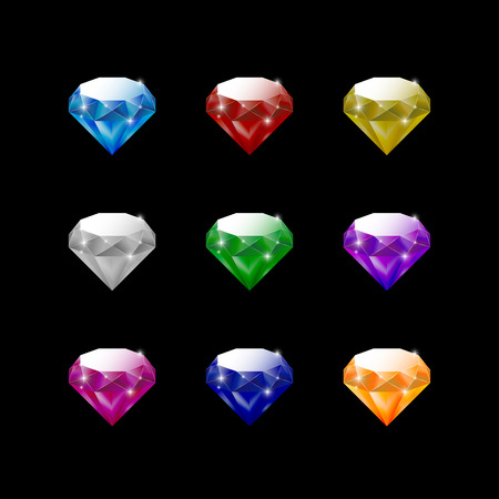 Set of diamonds. Colored realistic diamonds. Isolated on black gems. Vector illustration