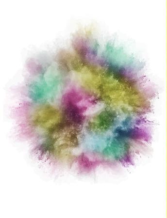 une explosion colorée de poudre de poudre dans différentes directions de poudre pour la conception et le gel . illustration vectorielle