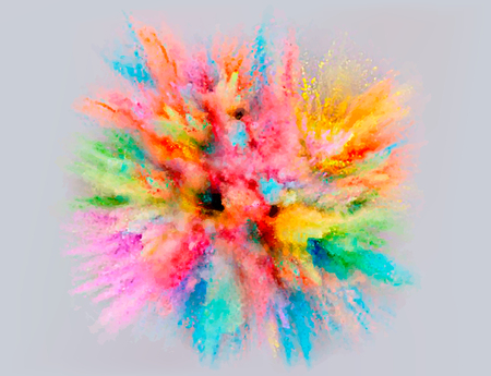 A colored explosion of powder Flying in different directions powder for design and decoration Vector illustration Illustration