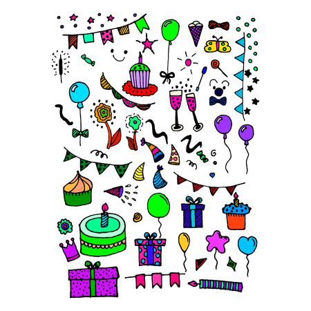 Doodle items and things for birthday. Hand-drawn things for party. Vector illustration
