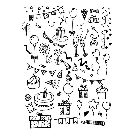 Doodle items and things for birthday hand-drawn things for party vector illustration. Stock Illustratie