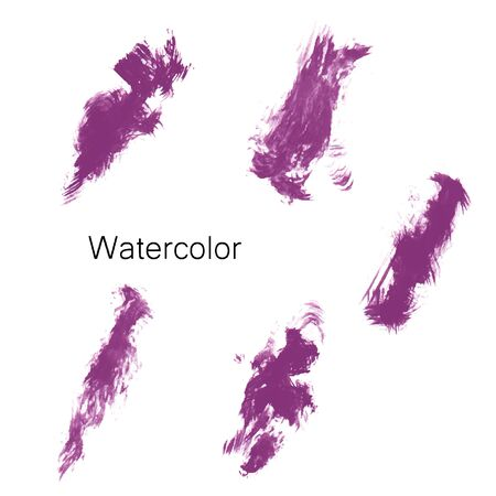 Watercolor splashes. Set of watercolor stains. Paint spots. Illustration Stock Photo