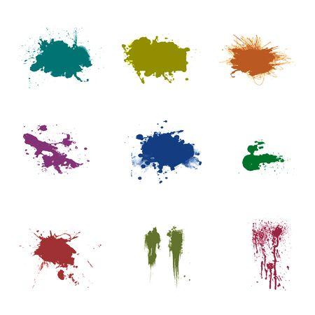 Set of ink spots. Blots and ink splashes for design. A set of elements for decoration. Illustration