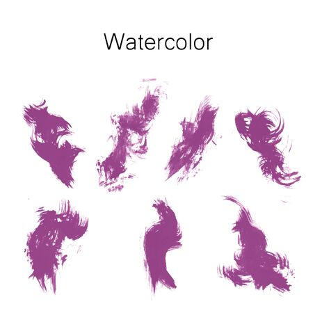 Watercolor splashes. Set of watercolor stains. Paint spots. The black. Vector illustration Stock Illustratie