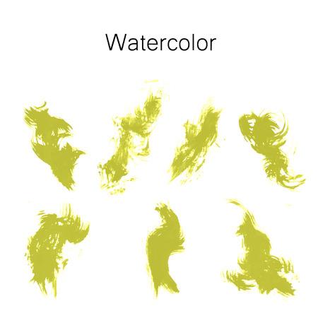 Watercolor splashes. Set of watercolor stains. Paint spots. The black. Vector illustration Çizim