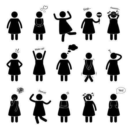 Stick figure of a man. Set of human postures for design. Illustration