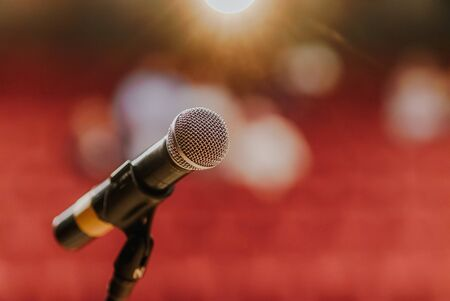 Close Up of Microphone Standing at Stage Before Concert
