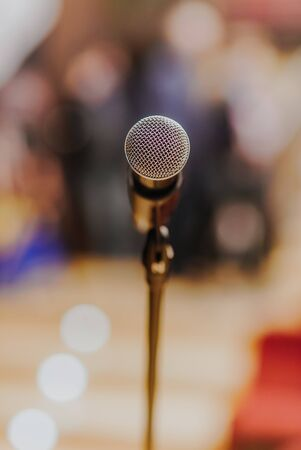 Microphone Standing at Stage Before Concert Imagens