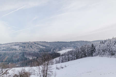 view of the forest and mountains covered with snow in winter