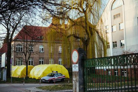 Field tents against Hospital in Nysa city, 14.03.2020, Nysa, Poland Редакционное