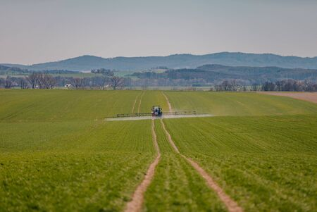 Agriculture Tractor Working in Field
