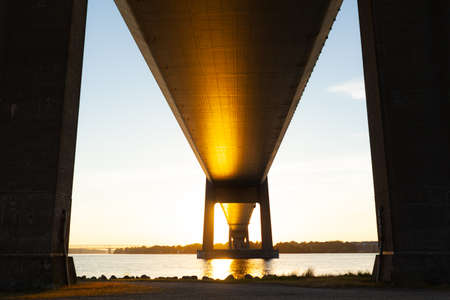 Bottom View High and Long Bridge at sunset in summer