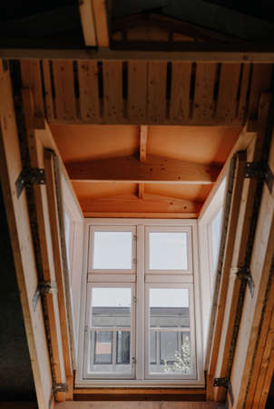 Close up of Window being Renovating at Attic Stockfoto