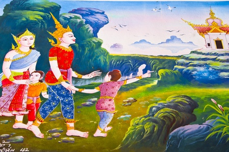 Generality in Thailand, any kind of art decorated in Buddhist church, temple pavilion, temple hall, monk's house etc. created with money donated by people to hire artist. They are public domain or treasure of Buddhist, no restrict in copy or use, no name