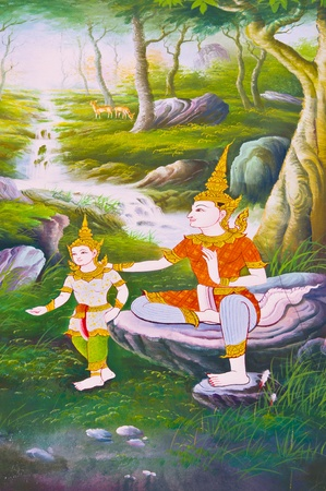 Generality in Thailand, any kind of art decorated in Buddhist church, temple pavilion, temple hall, monk�s house etc. created with money donated by people to hire artist. They are public domain or treasure of Buddhist, no restrict in copy or use, no nam Banque d'images