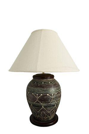 arredamento classico:  Sfondo bianco 0n lampada da tavolo  Archivio Fotografico