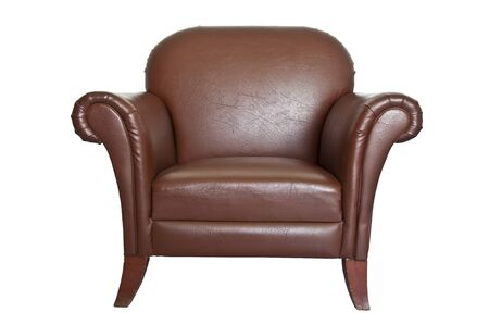 CLIPING PART Brown leather sofa on a white background. photo