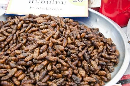 Fried silk worm.